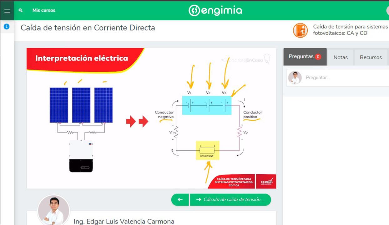 Caída de tensión para sistemas fotovoltaicos: CA y CD